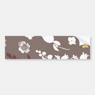 Estampado de flores romántico de Brown y del vinta Etiqueta De Parachoque