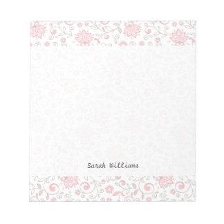 Estampado de flores rosa claro elegante bloc de notas