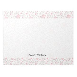 Estampado de flores rosa claro elegante blocs de notas