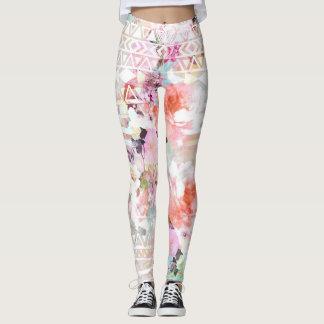 Estampado de flores rosado azteca de la moda de la leggings