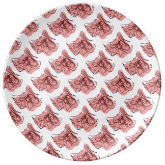 Estampado de flores rosado banal platos de cerámica