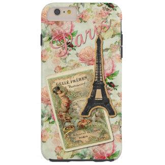Estampado de flores rosado bonito lindo de París Funda De iPhone 6 Plus Tough