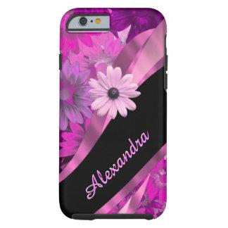 Estampado de flores rosado bonito personalizado funda de iPhone 6 tough