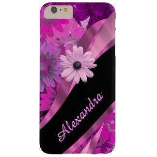 Estampado de flores rosado bonito personalizado funda de iPhone 6 plus barely there
