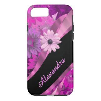 Estampado de flores rosado bonito personalizado funda iPhone 7