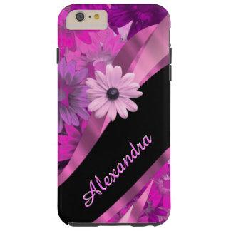 Estampado de flores rosado bonito personalizado funda resistente iPhone 6 plus