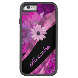 Estampado de flores rosado bonito personalizado funda tough xtreme iPhone 6