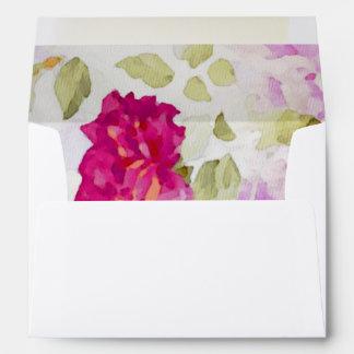 Estampado de flores rosado de la acuarela de sobre