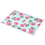 Estampado de flores rosado de los rosas en placema manteles individuales