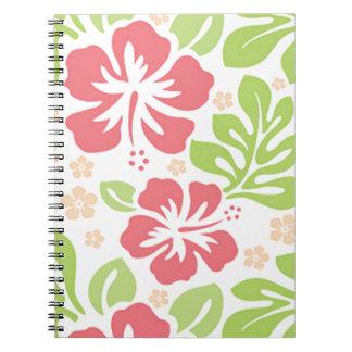 estampado de flores rosado del Hawaiian del hibisc Libro De Apuntes Con Espiral
