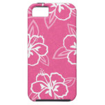 Estampado de flores rosado del hibisco iPhone 5 cárcasas
