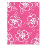Estampado de flores rosado del hibisco postal
