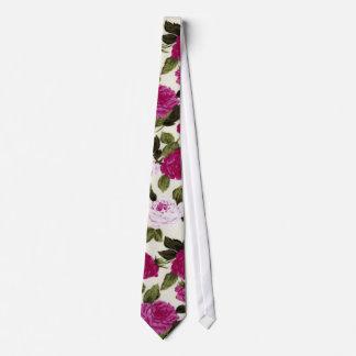 Estampado de flores rosado del país corbata personalizada