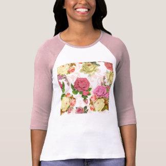 Estampado de flores rosado del vintage de los playeras