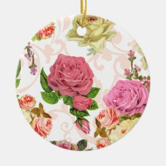 Estampado de flores rosado del vintage de los rosa ornamento para reyes magos