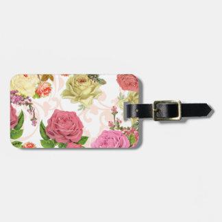 Estampado de flores rosado del vintage de los rosa etiquetas maleta