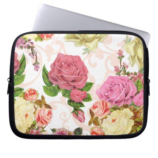 Estampado de flores rosado del vintage de los rosa mangas computadora