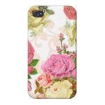 Estampado de flores rosado del vintage de los rosa iPhone 4/4S carcasas
