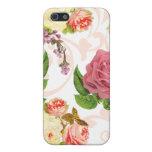 Estampado de flores rosado del vintage de los rosa iPhone 5 carcasas