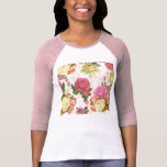 Estampado de flores rosado del vintage de los rosa camisetas