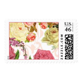 Estampado de flores rosado del vintage de los rosa franqueo