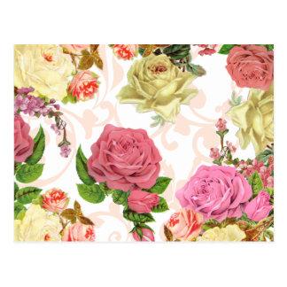 Estampado de flores rosado del vintage de los rosa tarjeta postal