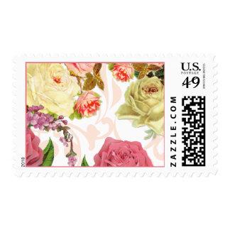 Estampado de flores rosado del vintage de los franqueo