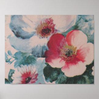 Estampado de flores rosado del vintage póster