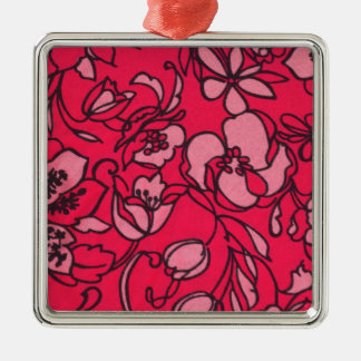 Estampado de flores rosado en colores pastel y bri adornos de navidad