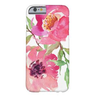 Estampado de flores rosado femenino de la acuarela funda de iPhone 6 barely there