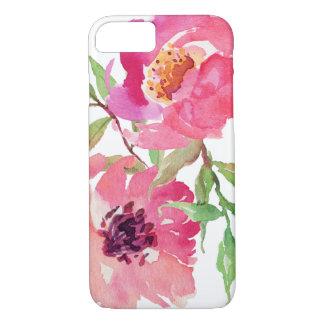 Estampado de flores rosado femenino de la acuarela funda iPhone 7