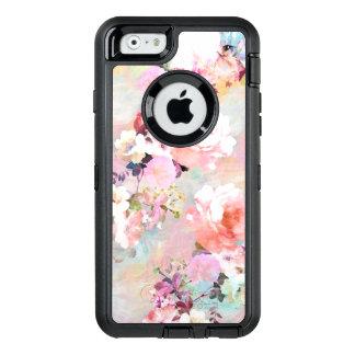 Estampado de flores rosado moderno de la moda de funda OtterBox defender para iPhone 6
