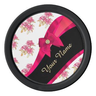 Estampado de flores rosado oscuro bonito del juego de fichas de póquer