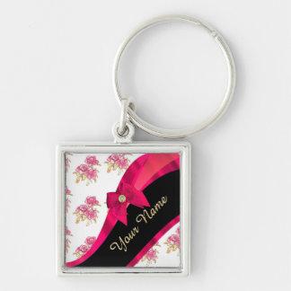 Estampado de flores rosado oscuro bonito del llavero cuadrado plateado