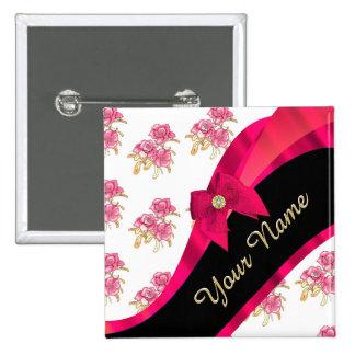 Estampado de flores rosado oscuro bonito del chapa cuadrada 5 cm