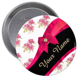 Estampado de flores rosado oscuro bonito del chapa redonda 10 cm