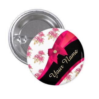 Estampado de flores rosado oscuro bonito del chapa redonda 2,5 cm