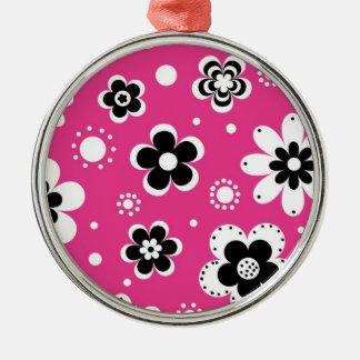 Estampado de flores rosado retro de la MOD Adornos De Navidad