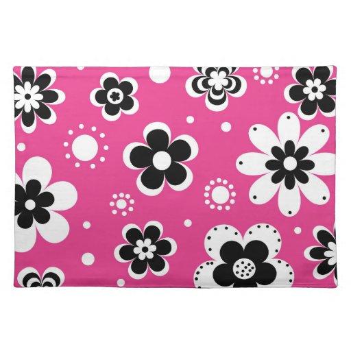 Estampado de flores rosado retro de la MOD Manteles Individuales