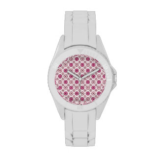 Estampado de flores rosado retro relojes de mano