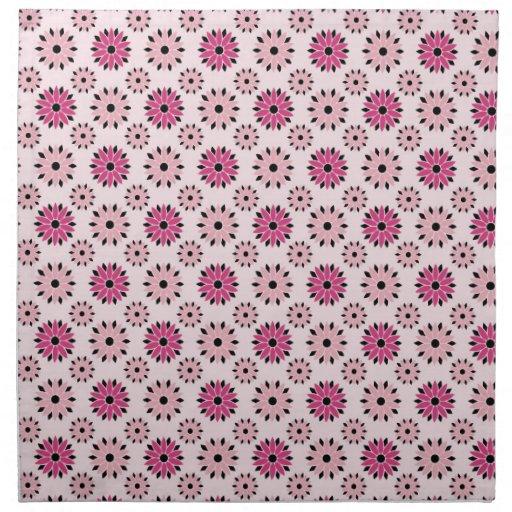 Estampado de flores rosado retro servilleta