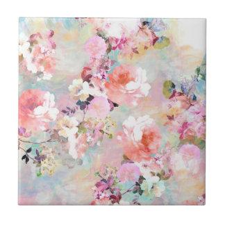 Estampado de flores rosado romántico de la moda de azulejo cuadrado pequeño