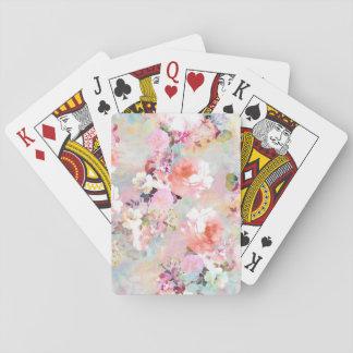 Estampado de flores rosado romántico de la moda de cartas de juego