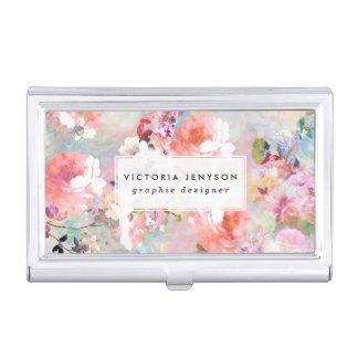 Estampado de flores rosado romántico de la moda de caja de tarjetas de presentación