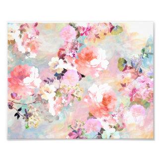 Estampado de flores rosado romántico de la moda de impresiones fotograficas
