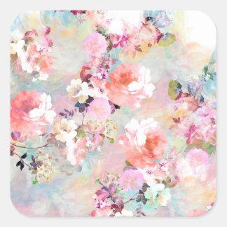 Estampado de flores rosado romántico de la moda de calcomanía cuadradas