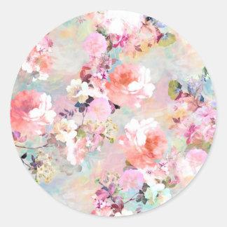 Estampado de flores rosado romántico de la moda de pegatina redonda
