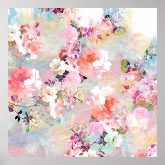 Estampado de flores rosado romántico de la moda de póster