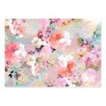 Estampado de flores rosado romántico de la moda de plantillas de tarjeta de negocio