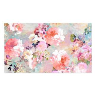 Estampado de flores rosado romántico de la moda de tarjetas de visita